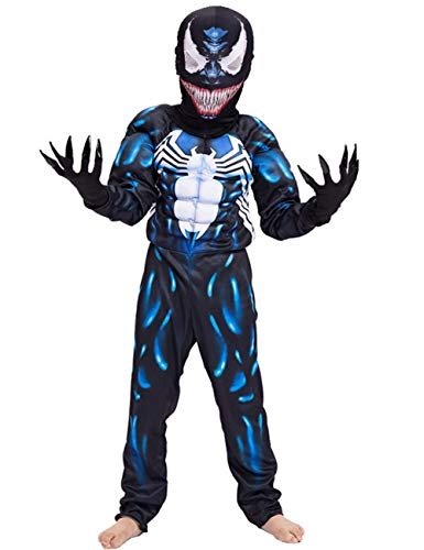 Kids Superhero Costume Suit 3D Spandex Unisex Jumpsuit Bodysuit for Kids Aged 5-13 (Venom, L for Height 55