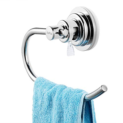 JIEPAI Suction Cup Towel Rack,Vacuum Suction Towel Holder,Modern Shower Towel Ring,Washcloth Hand Towel Holder for Bathroom & Kitchen-Drill Free,Chrome
