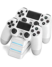snakebyte PS4 TWIN: CHARGE 4 - wit - oplader / laadstation voor PlayStation 4 / PS4 Slim / PS4 Pro Dualshock 4-controller, dockingstation voor 2 gamepads incl. MICRO USB-kabel, LED-laadstatusindicator