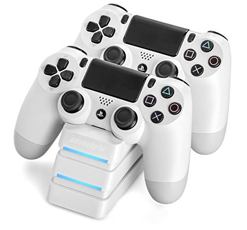 Snakebyte PS4 Twin Charge 4 - Twin Docking Station for 2 PlayStation 4 Dualshock Controller / Gamepad - Dual Charger, PlayStation 4 Charging Station for Sony Playstation4 / PS4 / PS4 Slim / PS4 Pro Controller, White (Best Dualshock 4 Charging Station)