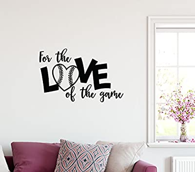 """24""""x14"""" Softball For The Love Of The Game Baseball Sport Team Play Wall Decal Sticker Art Mural Home Decor Quote"""