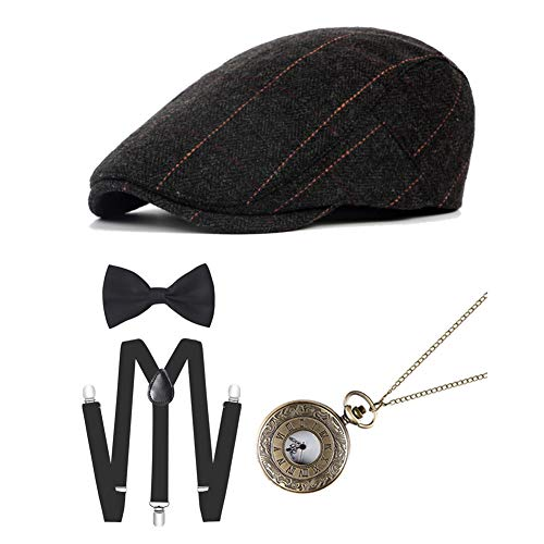 ICEVOG 1920s Mens Gatsby Gangster Costume Accessories Set Newsboy Ascot Cap Hat Suspenders (Style - 5)