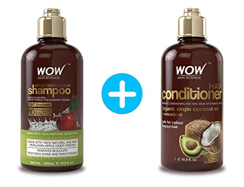 WOW Apple Cider Vinegar Shampoo & Hair Conditioner Kit - Reduce Dandruff, Frizz, Less Oil Clog - Clean Hair and Healthy Scalp To Boost Gloss, Soft, Shine - Perfect For Dry and Oily Hair - 500 mL