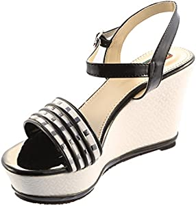 f22e96a41c68 Sneha Unique Black Wedge Heel Sandal  Buy Online at Low Prices in ...
