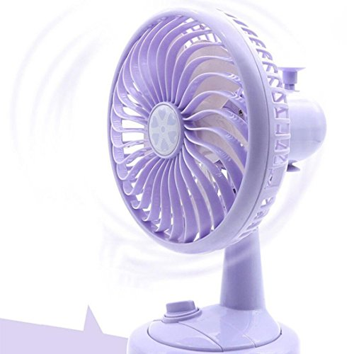 Liping 8.2in Portable USB Fan Cool Portable Battery Operated Fan Mini Personal Fan Outdoor Home and Travel Car Computer Laptop Low Power Consumption (Purple) ()