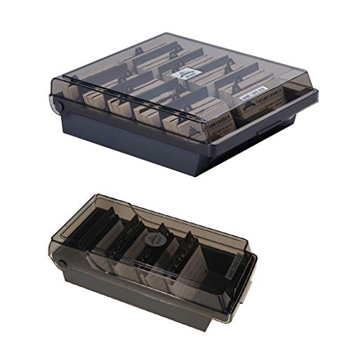 Fityle 2 Set Business Card Holder File Card Storage Box Organizer with 8 Divider & Clear Lid Large Capacity Can Holds About 1000 Standard Size Cards Each Box