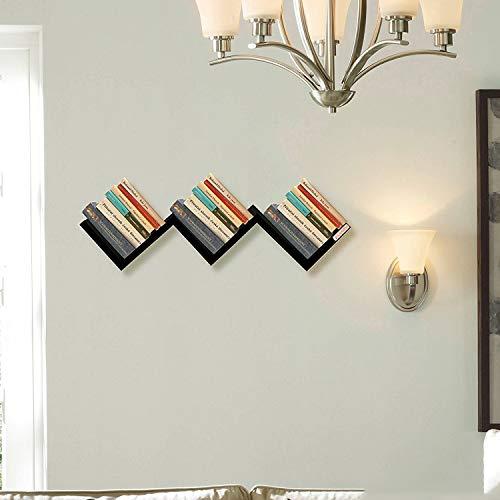 Klaxon W Shape Decorative Wooden Storage Wall Shelves  Black
