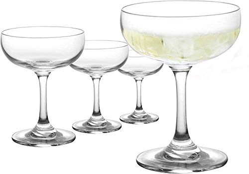 Bluefind Coupe Cocktail Glass, Crystal Clear Champagne Coupe Glasses – Set Of 4 (5oz Capacity – 3.5oz without Spilling…