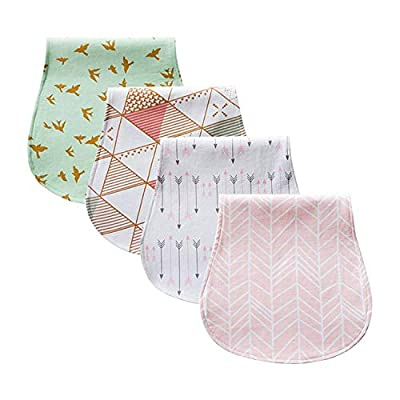 "Baby Burp Cloth 100% Organic Cotton Triple Layer Ultra Absorbent 4 piece Gift Set ""Gracie"" For Girls By Chunky Chops"