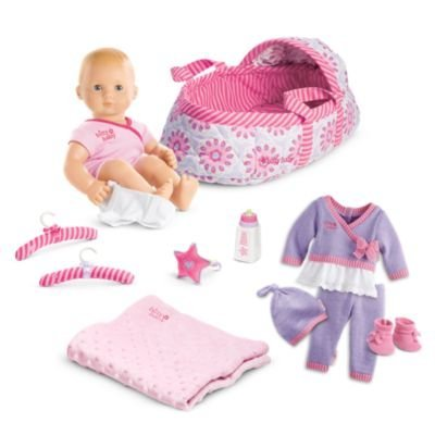 American Girl Bitty Baby Doll + Special Starter Collection - Light skin, blond hair, blue-gray eyes