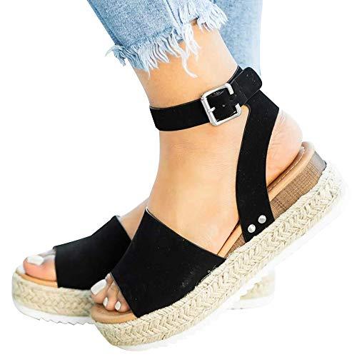 Athlefit Women's Platform Sandals Espadrille Wedge Ankle Strap Studded Open Toe Sandals Size 5.5 Black