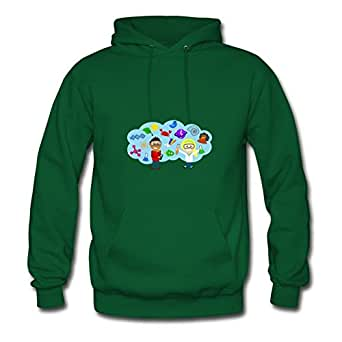 Women Hoody Science Explosion Painting For Round-collar Hoody-green X-large