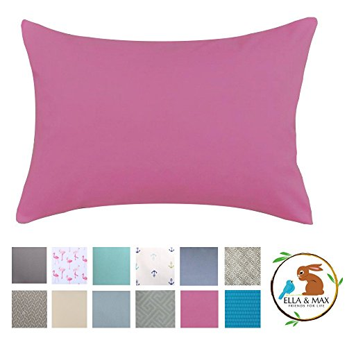 Ella & Max Toddler Pillowcase. Pink. Soft & Cuddly. Made of Luxury Microfiber Fabric - Easy to wash & no Ironing. Handmade in USA.