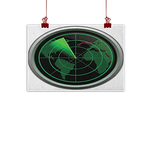 Outdoor Nature Inspiration Poster Wilderness Airplane,Military Radar Screen Global Defense Danger Detecter Scanner Signal System Print, Green Black 48