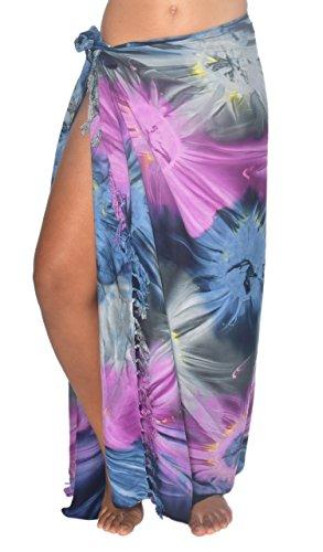 Sarong Skirt Dress (Tie Dye Hawaii Sarong Pareo BeachWrap Swimsuit Coverup)