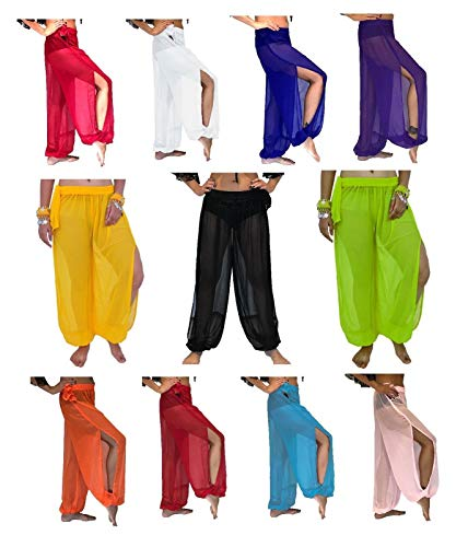(Pack of 5 Assorted Belly Dance Harem Pants for Dancing Tribal Dancer Costume Yoga New ONE Size M L, US 12/16)