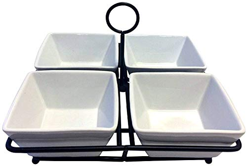 - 4 Bowl Condiment Dish Rack Set - White Porcelain Ceramic Caddy - Condiments, Nuts, Ice Cream, Snacks, Candy Serving Bowls -