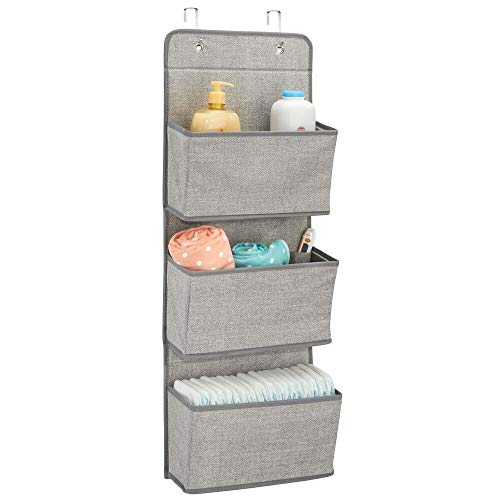 (mDesign Soft Fabric Wall Mount/Over Door Hanging Storage Organizer - 3 Large Pockets for Child/Kids Room or Nursery, Hooks Included - Textured Print - Gray )