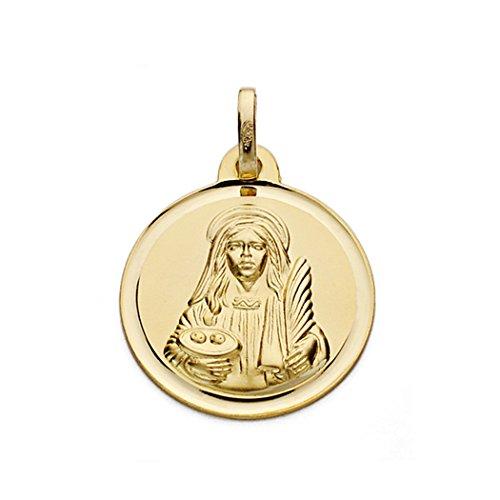 Médaille pendentif Sainte-Lucie d'or 17mm 18k. [AA0541GR] - personnalisable - ENREGISTREMENT inclus dans le prix