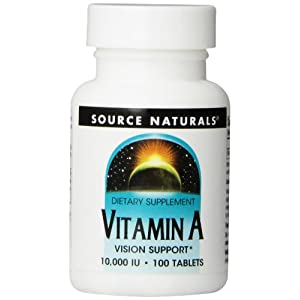 Source Naturals Vitamin A Palmitate 10,000IU, 100 Tablets