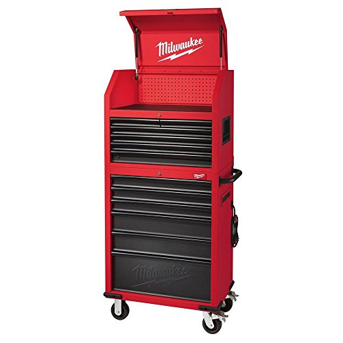 Milwaukee 30 in. 12-Drawer Steel Tool Storage Chest and Rolling Cabinet Set, Textured Red and Black Matte