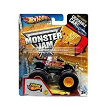 HOT WHEELS MONSTER JAM TEAM HOT WHEELS FIRESTORM MONSTER TRUCK SCALE 1/64 INCLUDES CRUSHABLE CAR