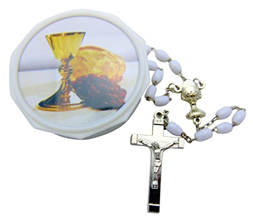 First Holy Communion Girl's Rosary Set with White Bead Rosary Chalice Pin (Pin Gift Set)