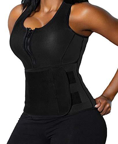 "Lelinta Neoprene Sauna Suit - Sauna Tank Top Vest with Adjustable Shaper Trainer Belt,Black,6XL(Fit For Waist:39.4""-40.9"")"