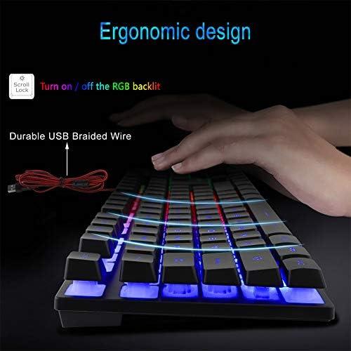 BlueFinger RGB Gaming teclado y mouse retroiluminado, teclado USB con cable retroiluminado, juego de teclado LED para juegos para computadora portátil, juego de computadora y trabajo 6