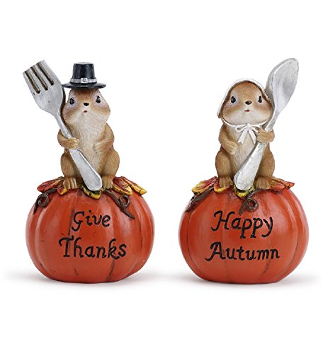 Give Thanks Happy Autumn Pilgrim Squirrel Couple 5.5 Inch Resin Figurines Set of 2