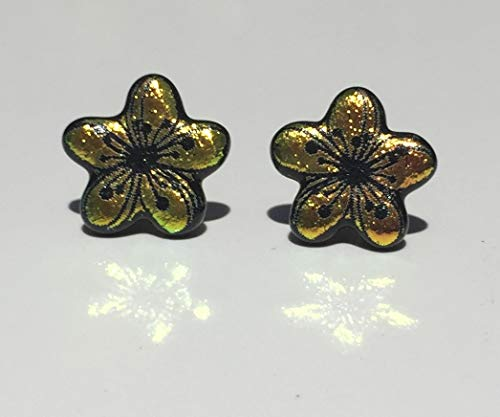Dichroic Fused Glass Stud Earrings - Pink Yellow Plumeria Flower Laser Engraved Etched Studs with Solid Sterling Silver Posts