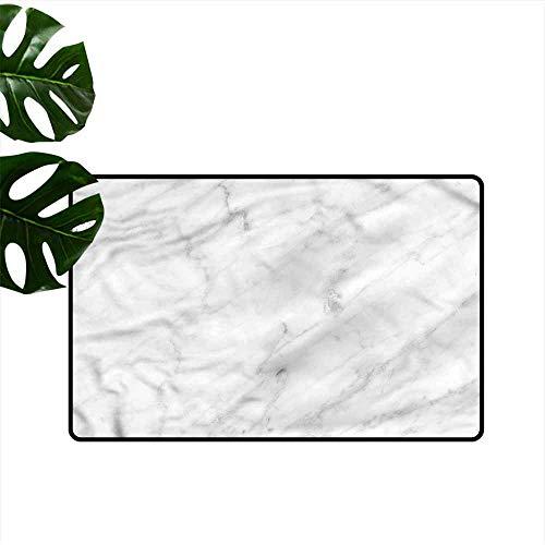 DUCKIL Outdoor Door mat Marble Carrara Organic Tile Easy to Clean Carpet W20 xL31 ()
