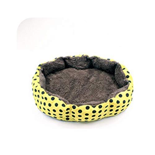 - Dotted Kennel Super Soft Cotton Velvet Winter Warm Dog Bed Cat Nest Removable Wash Wave Pet Nest,Yellow,S