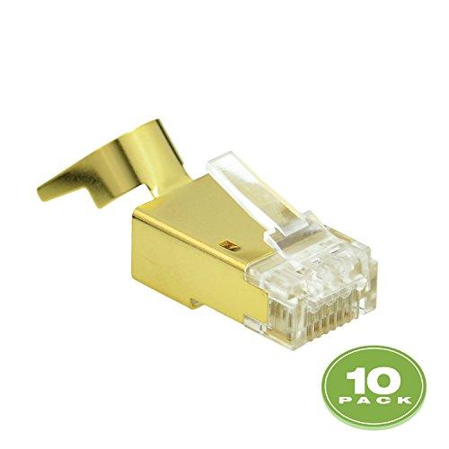Mediabridge Cat7 Connector (Gold Shielded) - RJ45 Plug for Cat7 Ethernet Cable - 8P8C 50UM - 10 Pack (Part# 51P-C7-10PK )