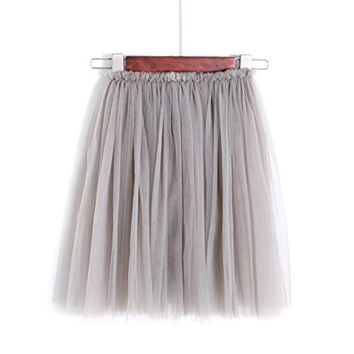 (Flofallzique Tulle Tutu Girls Skirts for 1-12 Years Old Dancing Party Toddler Clothes(4, Gray))