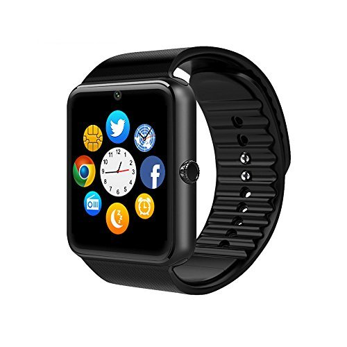 CulturesIn Smart Watch GT08 Touch Screen Bluetooth WristWatch with Camera/SIM Card Slot/Pedometer Analysis/Sleep Monitoring for Android (Full Functions) and IOS (Partial Functions) (gun black)