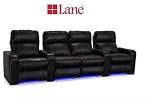 Lane dynasty black bonded leather home theater seating w base lights row of 4 w Home theater furniture amazon