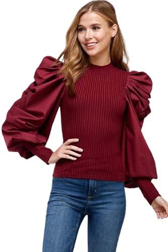 Casual Full Sleeve Solid Women Maroon Top