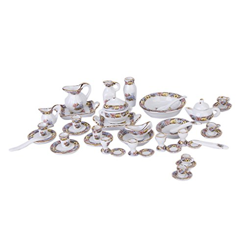 Flameer 40pcs Dollhouse Miniature Tea Set Dining Ware Porcelain | Tea Set Dish Cup Plate - Floral Blossom Tea Pot Set