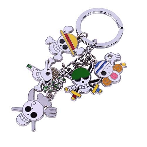 - Bowinr One Piece Key Chain with 5 Pendants, Super Kawaii Anime Keychain Keyring for Kids Teens Adults and Anime-Fans(Style 03)