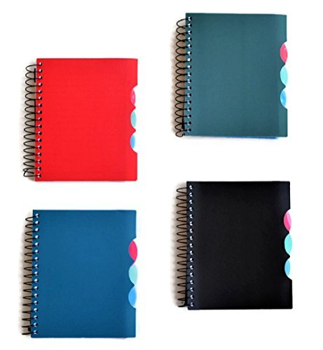 - 4-Subject Small Mini Spiral Notebooks with Plastic Covers, 4-ct Set