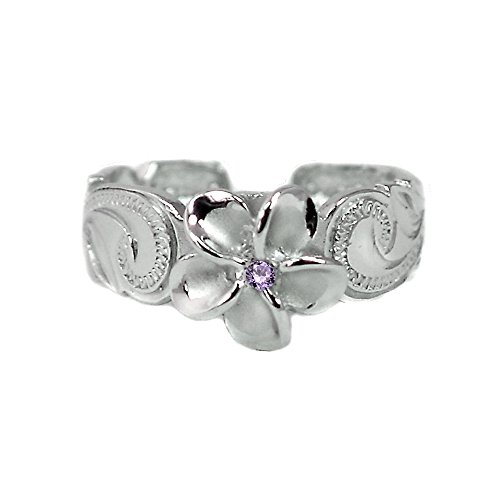 Hawaiian Sterling Silver Plumeria Toe Ring with Purple Synthetic Cubic Zirconia ()