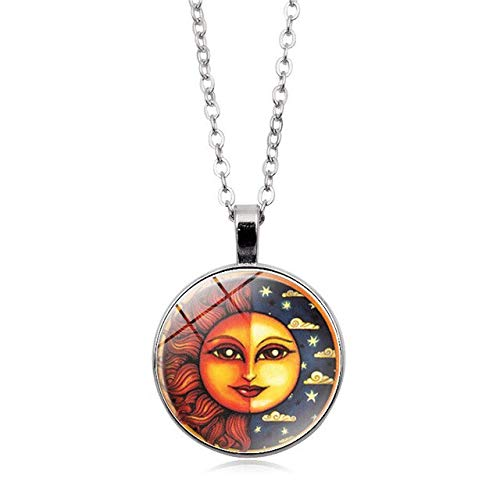 Gimax Stylish Cute Cartoon Golden Sun & Moon Locket Pendant Necklace Funny Sun Moon Star Monogrammed Jewelry Sun Moon god - (Metal Color: -