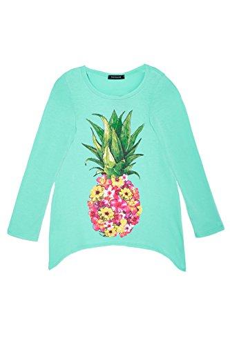 Big Girls Long Sleeve Love Heart Pineapple Graphic Handkerchief Tee Top USA Aqua Floral M by Poshsquare (Image #3)'