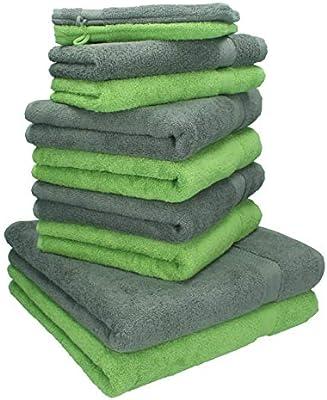 BETZ Juego de 10 Toallas Premium 100% algodón 2 Toallas de baño 4 Toallas de Lavabo 4 Toallas de tocador 2 Manoplas de baño Color Verde Manzana y Gris ...