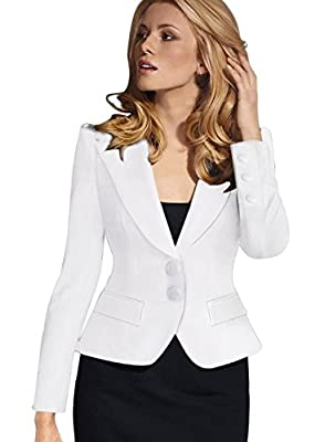 VfEmage Women's Elegant Turn Down Collar Wear to Work Outwear Jacket Blazer