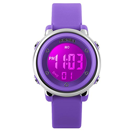 Wrist Electronic Watch (Girls Wacthes, Digital Colorful Waterproof Swimming Sport Girls Kids Child Cool Wrist Wacth (Purple Color))