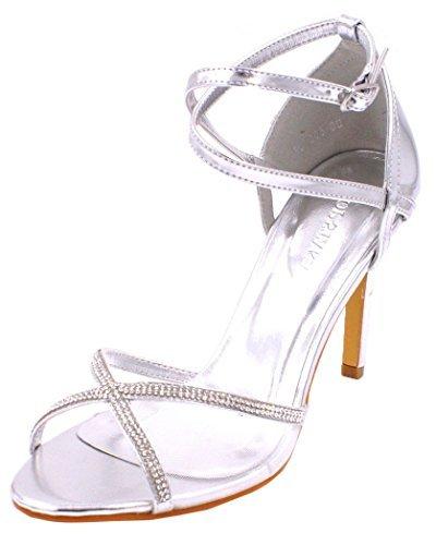 abca52c3fb45 SHU CRAZY Womens Ladies Diamante High Stiletto Heel Open Toe Bridal  Bridesmaid Prom Party Evening Dressy