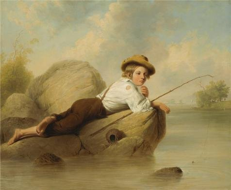 The High Quality Polyster Canvas Of Oil Painting 'John Gadsby Chapman,A Lazy Fisherman,1844' ,size: 30x36 Inch / 76x93 Cm ,this Best Price Art Decorative Canvas Prints Is Fit For Game Room Artwork And Home Decoration And Gifts