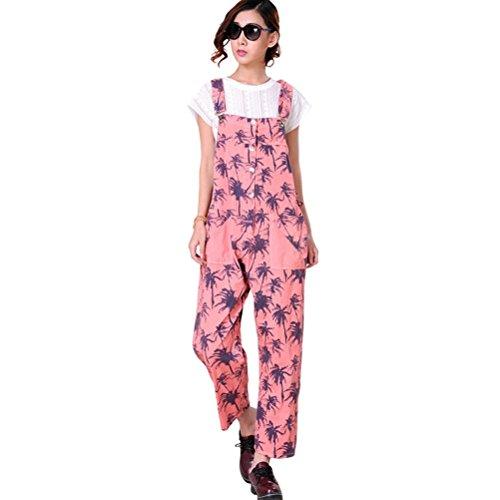 Poches Palm Jumpsuit Harem Romper Casual Imprimé Sarouel Rose Avec Femme Aeneontrue Salopette Pantalon Coconut Ample Large Combinaison OWc4pZpq